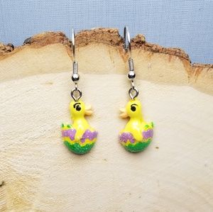 Baby Duck Duckling Colorful Egg Easter Earrings